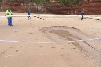 英国沙滩惊现沉洞 形成大型喷泉将黏泥及蜗牛喷上半空