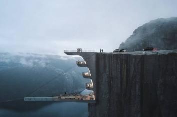 """土耳其建筑公司计划在挪威著名景点圣坛岩兴建""""悬崖酒店"""" 让游客享受惊心动魄之旅"""