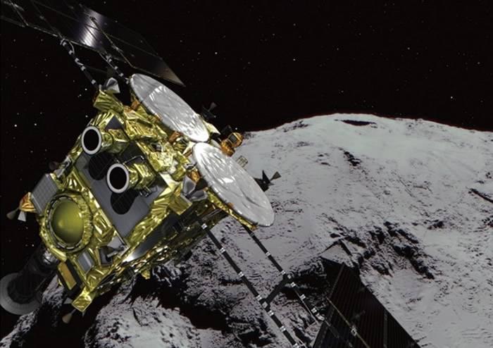 """日本无人探测器""""隼鸟2号""""探测小行星""""龙宫""""时在上空50米测到异常中止下降"""