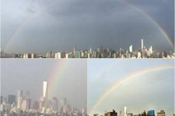 911恐袭14周年前夕 美国世贸原址现雨后彩虹