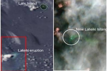 太平洋岛国汤加海底火山爆发 拉德基岛沉没而大3倍新岛屿形成