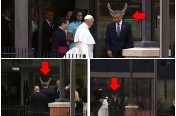 """奥巴马与教宗会面被拍得""""露出羊角"""""""