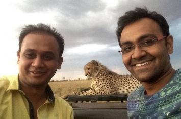 驾车游逛肯尼亚马赛玛拉国家公园时受到四只猎豹友善欢迎