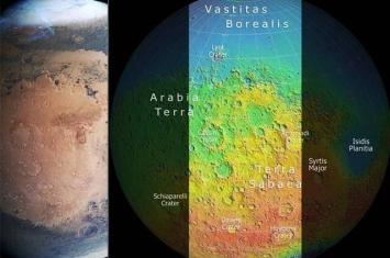 """欧洲航天局获得由火星快车号探测器拍摄的火星""""马赛克""""图像"""